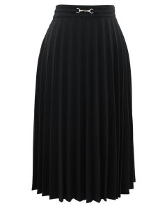 Horsebit Trims Wool-Blend Pleated Midi Skirt in Black