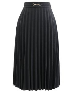 Horsebit Trims Wool-Blend Pleated Midi Skirt in Grey