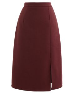 Side Slit Midi Pencil Skirt in Red