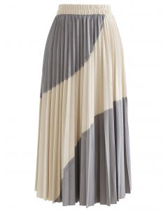 Velvet Color Blocked Pleated Midi Skirt in Grey