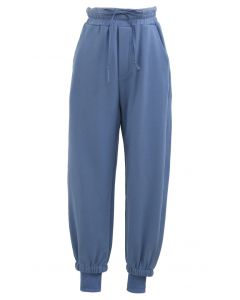 Cuffed Hem Drawstring Pockets Joggers in Blue
