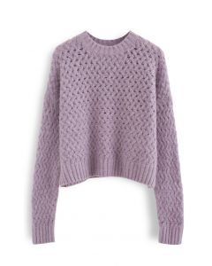 Crisscross Fuzzy Round Neck Sweater in Lilac