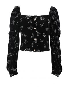 Glittery Rose Buttoned Velvet Top in Black