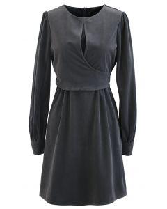 Corduroy Wrap Long Sleeves Mini Dress in Grey