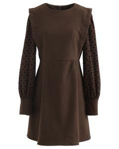 Dots Splicing Sleeves Mini Dress in Brown