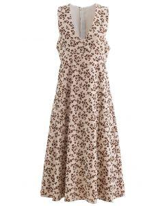 Embossed Floret V-Neck Sleeveless Dress in Sand