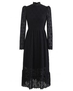 Fuzzy Full Floret Lace Mock Neck Dress in Black
