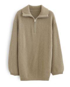 Zip-Neck Rib Knit Longline Sweater in Tan