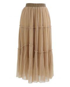 Soft Mesh Ruffle Detail Pleated Skirt in Light Tan