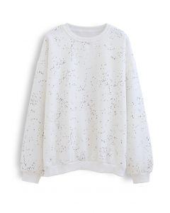 Spotted Fleece Sweatshirt in White