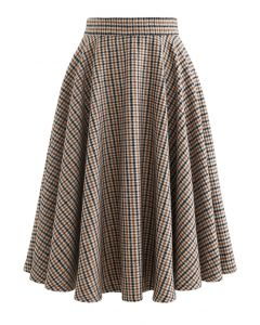 Flare Houndstooth Wool-Blend Midi Skirt