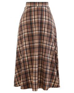 Plaid Wool-Blend A-Line Midi Skirt in Caramel