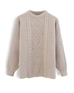 Textured Cable Knit Sweater in Sand
