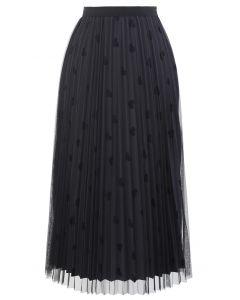 Mesh Overlay Heart Print Pleated Skirt in Smoke