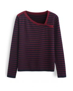 Oblique Collar Striped Knit Top in Navy