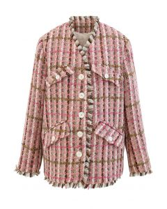 Faux Fur Lining Tassel Tweed Blazer in Hot Pink