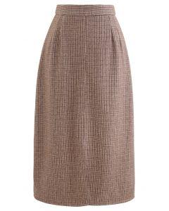 Vent Hem Houndstooth Wool-Blend Pencil Skirt in Brown