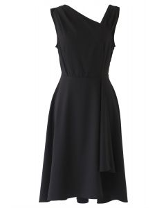 Asymmetrical Oblique Shoulder Sleeveless Midi Dress