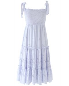 Shoulder Tie Shirred Embroidered Ruffle Dress in Lilac