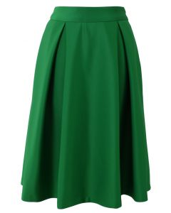 Full A-line Midi Skirt in Green