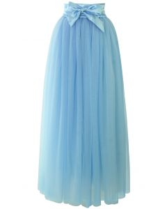 Amore Maxi Tulle Prom Skirt in Sky Blue