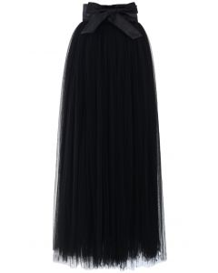 Amore Maxi Tulle Prom Skirt in Black