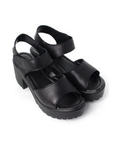 Block-Heel Leather Sandals in Black