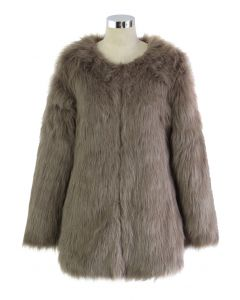 Chicwish Glam Brown Faux Fur Coat