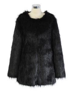 Chicwish Glam Black Faux Fur Coat
