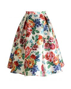 Blossom Age Floral Midi Skirt