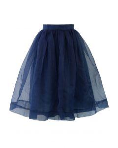 Understated Elegance Organza Midi Skirt in Navy