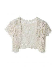 Vintage Daisy Crochet Crop Cardigan in Cream