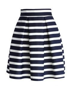 Adorable Stripe Pleated A-Line Midi Skirt