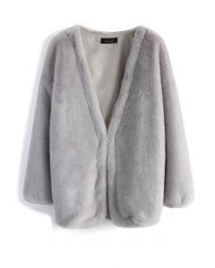 Ultra Comfy Faux Fur Coat in Grey