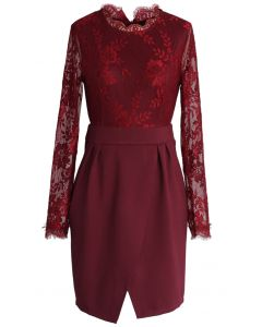 Wine Floral Lace Split Shift Dress