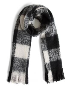 Black and White Gingham Scarf