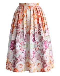 Flowers Whisper Pleated Midi Skirt