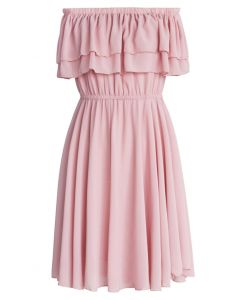 Endless Off-shoulder Frilling Dress in Pastel Pink