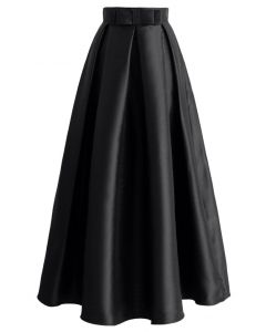 Bowknot Pleated Full Maxi Skirt in Black