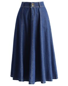 Swing Denim A-line Midi Skirt