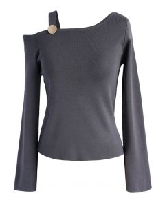 Chic Deliver Knit Top in Grey