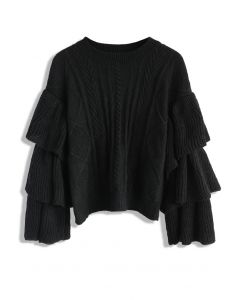 Black Cable Knit Sweater with Tiered Flare Sleeves