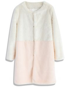 Contrast Allure Faux Fur Coat in Pink