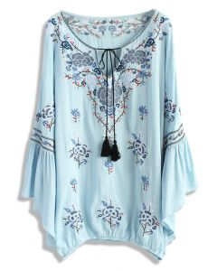 Festive Delight Embroidered Tunic in Baby Blue