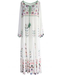 White Flowerland Embroidered Maxi Dress