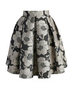 Shiny Blossom Jacquard Skirt