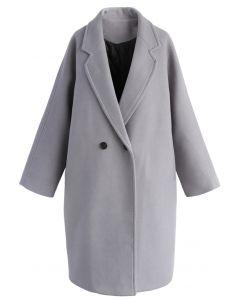 Applaud Your Charm Wool-blend Longline Coat in Grey