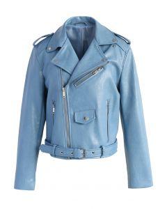 Undeniably Chic Faux Leather Biker Jacket in Blue