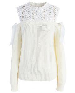 Sweet Evocation Cold-shoulder Sweater in Ivory