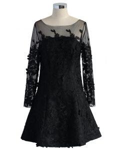 Frozen Floral Mesh Dress in Black
